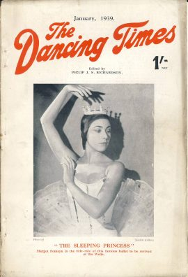 January 1939 The Dancing Times magazine MARGOT FONTEYN Sleeping Princess In memory of a great Dancer Anna Pavlova (hitherto 1939 unpublished) photo of her with her famous partner Alexander Volinine on inside front cover. A review of dancing in its many phases - containing articles and photos. Some vintage adverts for dancing schools. This is a vintage magazine. Text and photos clean and bright inside. The covers are badly marked with scuffs and tears to spines. Staples rusting so cover coming away from text. Please read the full description and see photo.