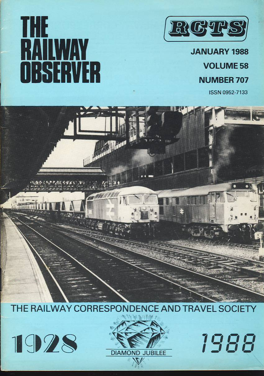 January 1988 Vol.58 No.707 RCTS Railway Observer magazine ref0011 A1 56095 Manchester on cover. Please read the full description and see photo.