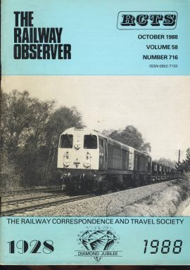 October 1988 Vol.58 No.716 RCTS Railway Observer magazine ref0016 A1 20021 + 20009 at Strensall heading for York on cover. Please read the full description and see photo.