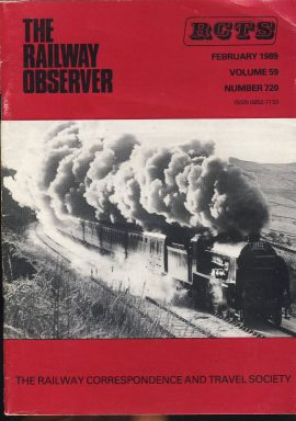 February 1989 Vol.59 No.720 RCTS Railway Observer magazine ref0017 A1 777 Sir Lamiel Santa Steam Special south of Garsdale on cover. Please read the full description and see photo.