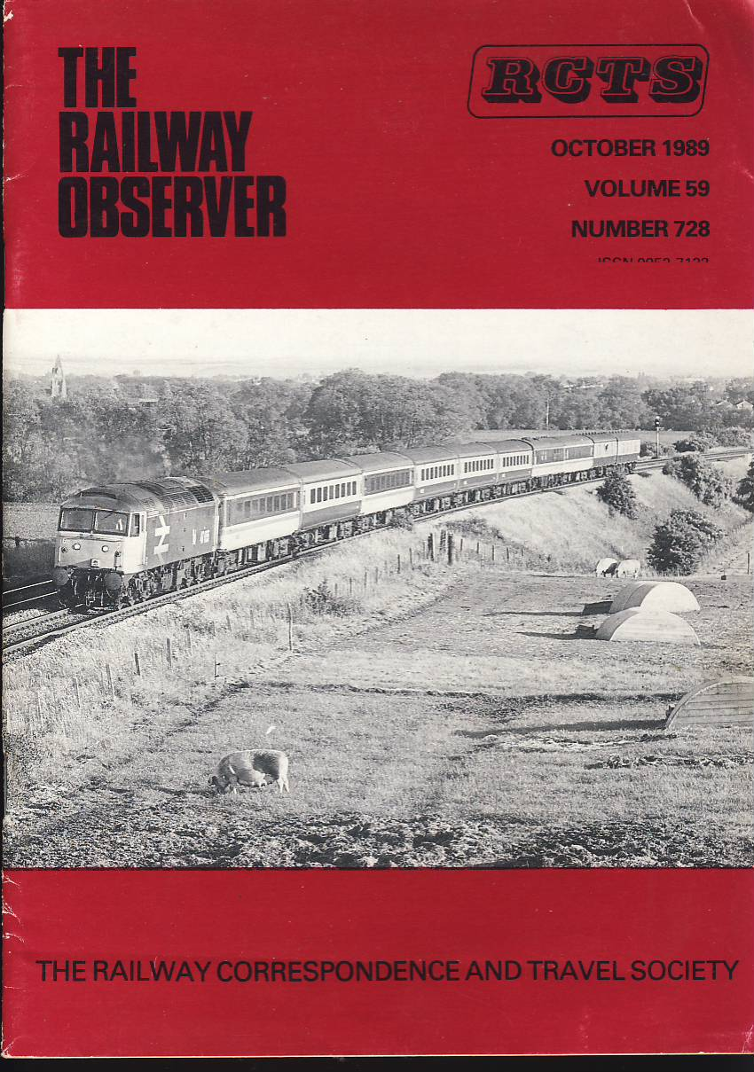 October 1989 Vol.59 No.728 RCTS Railway Observer magazine ref0023 A1 47435 approaching Culham on cover. Please read the full description and see photo.