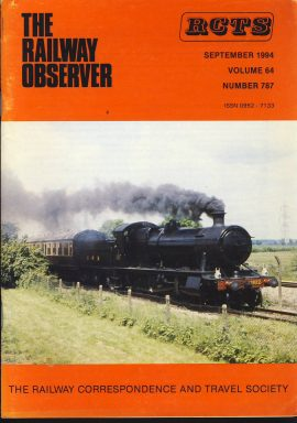 Sept 1994 Vol.64 No.787 RCTS Railway Observer magazine ref0035 A1 3822 working on the passenger line at Didcoton cover. Please read the full description and see photo.