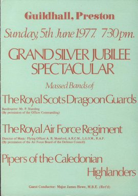 Massed Bands silver jubilee 1977 Guildhall Preston Theatre programme ref0052 A1 Pre-owned item. Royal Scots Dragoon Guards RAF Regiment and  Pipers of the Caledonian Highlanders. Folded card programme measures approx 15cm x 21cm