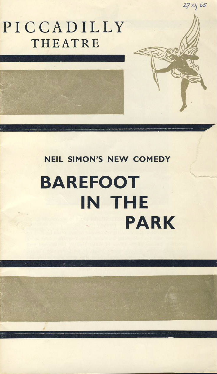1965 Piccadilly Theatre programme BAREFOOT IN THE PARK Neil Simon RARE ref0054 A1 Pre-owned item.  Measures approx  12.5cm x 21.5cm 8 pages. Billed as A NEW COMEDY by Neil Simon. Cast list includes Daniel Massey