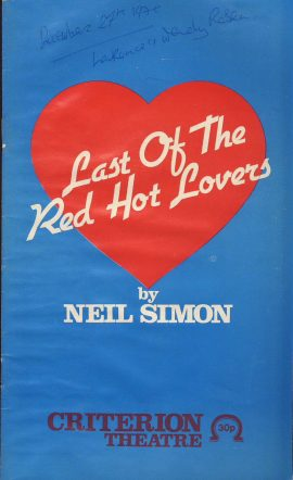 1979 Last of the Red Hot Lovers NEIL SIMON Criterion Theatre programme ref0059 A1 Pre-owned item. Measures approx  13cm x 21.5cm 28 pages Cast list - Lee Montague