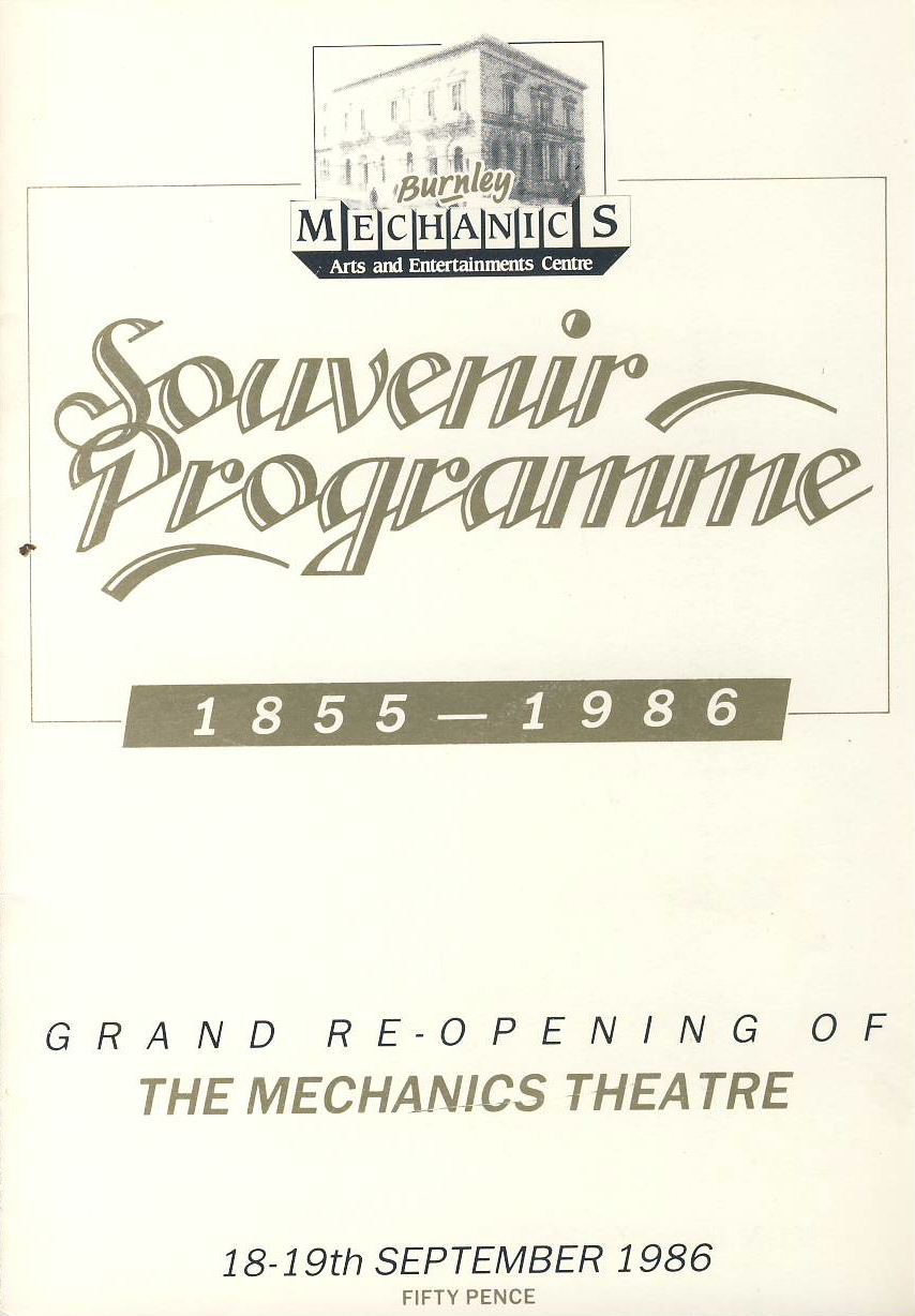 1986 Burnley MECHANICS Theatre Souvenir programme Grand Re-Opening ref0065A1 Pre-owned item. Measures approx  15cm x 21cm 8 page brochure. Opening show An Evening of Musical Entertainment wiht Gilbert & Sullivan Society