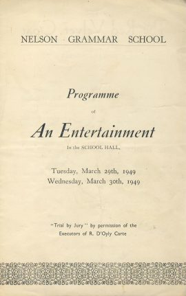 RARE 1949 Nelson Grammar School Programme of An Entertainment in the School Hall ref0066 A1 Pre-owned item. Measures approx  13cm x 20cm - 4 sides folded leaflet detailing The Red Velvet Goat - A Mexican Folk-Play by Josephina Niggli and The Music Club presents Trial By Jury Gilbert & Sullivan.