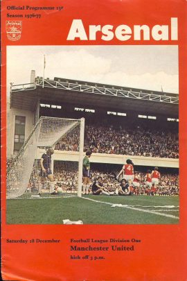 Dec 18th 1976-77 Season Arsenal v Manchester Utd official programme ref0100 A1 Football League Division One Pre-owned item. Crossword started.