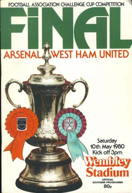 1980 Wembley Stadium FINAL Arsenal v West Ham Utd official programme ref0106 A1 Football associated Challenge Cup Compeition official souvenir programme. Pre-owned item.