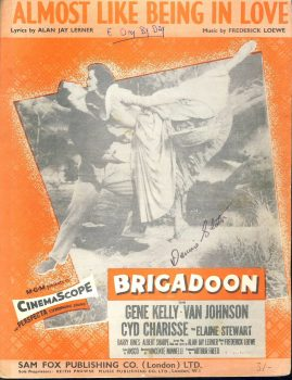 BRIGADOON Gene Kelly Van Johnson Cyd Charisse sheet music ALMOST LIKE BEING IN LOVE ref101537 music and words by Alan Jay Lerner and Frederick Loewe MGM CinemaScope Sam Fox publication. Pre-owned item.