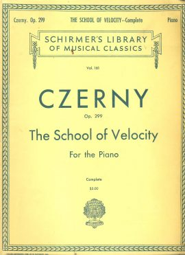CZERNY Sheet Music Book for PIANO School of Velocity ref101551 102 pages Schirmer's Library of Musical Classics Vol.161 Czerny. Op. 299 Complete. Vintage Publication (undated) Pre-owned item.