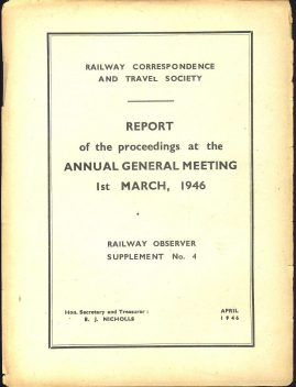 April 1946 AGM Report Railway Observer Supplement No.4 ref101589 Measures approx 16cm x 20cm 4 sides (folded flimsy paper) pre-owned in fair condition. See full description.