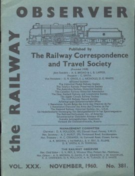 November 1960 No.381 Railway Observer booklet ref101590 Measures approx 15cm x 20cm pre-owned in good clean condition.