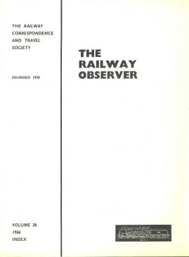 1966 Vol.36 INDEX The Railway Observer booklet ref101591 Measures approx 20cm x 15cm  15 page pre-owned in good condition.