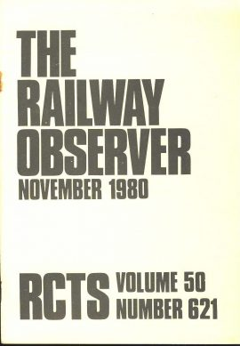 November 1980 The Railway Observer Vol.50 No.621 ref101592 Measures approx 15cm x 20cm pre-owned in good clean condition..