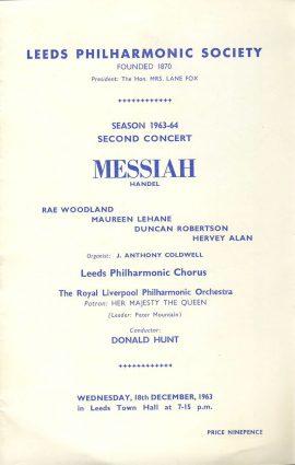 1963 LEEDS Philharmonic MESSIAH Handel vintage programme DONALD HUNT ref101603 Rae Woodland