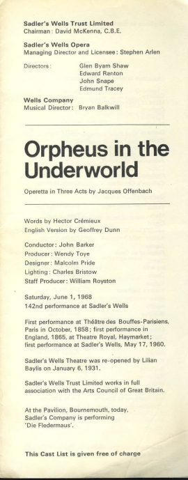 Orpheus in the Underworld 1968 vintage theatre programme  ref101604 Measures approx 22cm x 9cm  foldout (3 folds so has 6 sides of info) vintage leaflet / brochure is  pre-owned in good used condition.