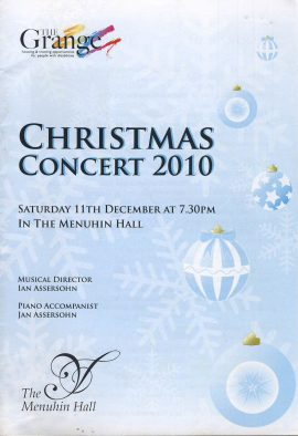 Christmas Concert 2010 The Grange Menuhin Hall theatre programme ref101606 Measures approx 21cm x 14cm 16 page programme is  pre-owned in good used condition.
