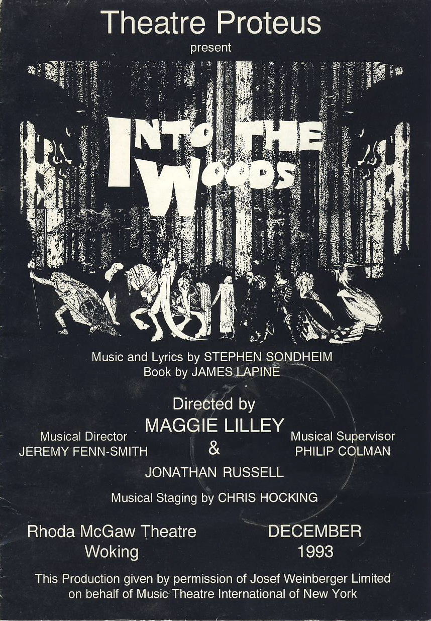 1993 Into The Woods vintage theatre Proteus programme WOKING ref101610 Rhoda McGaw Theatre Woking. Measures approx 21cm x 14cm folded (30cm x 42cm approx when opened up) vintage brochure is  pre-owned in good used condition. Date written inside.