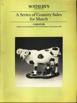 1988 Sothebys CHESTER Country Sales March vintage Auction Catalogue ref101623 Measures approx 27cm x 21cm 50 page vintage catalogue is  pre-owned in well used condition. Folded at some point. Prices written in pen next to lots on many pages makes this a good reference source.