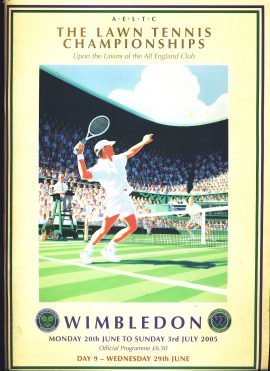 2005 WIMBLEDON Official Programme Lawn Tennis Championships ref101624 Day 9 Wednesday 20th June 2005 magazine. Measures approx  30cm x 22cm 130 page vintage brochure is pre-owned in read condition.