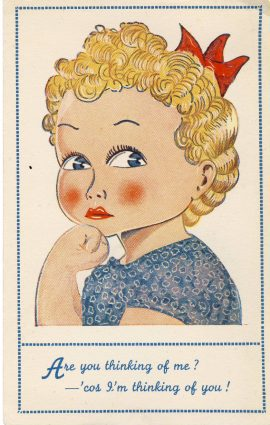 BRYSON Comic Postcard Series No.2 Thinking of Me girl blond red lips vintage postcard Published by JL Bryson Penrith refP7 Pre-owned in good condition. Unposted. Mark is from scanner fault - card is clean