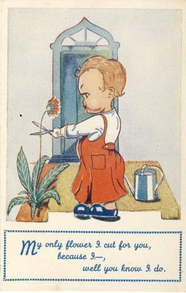 BRYSON cut flowers vintage comic postcard series no.2 Small child?