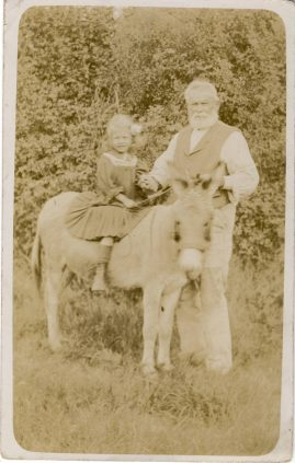 Old vintage photo postcard Donkey Girl Child and Old Man no details