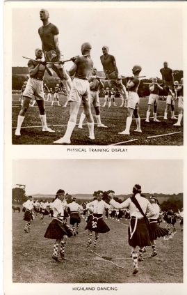Tidworth Tattoo Series vintage photo postcard Physical Training Display Highland Dancing published in England officially by GALE AND POLDEN LTD refP7 Pre-owned in good condition. Unposted.