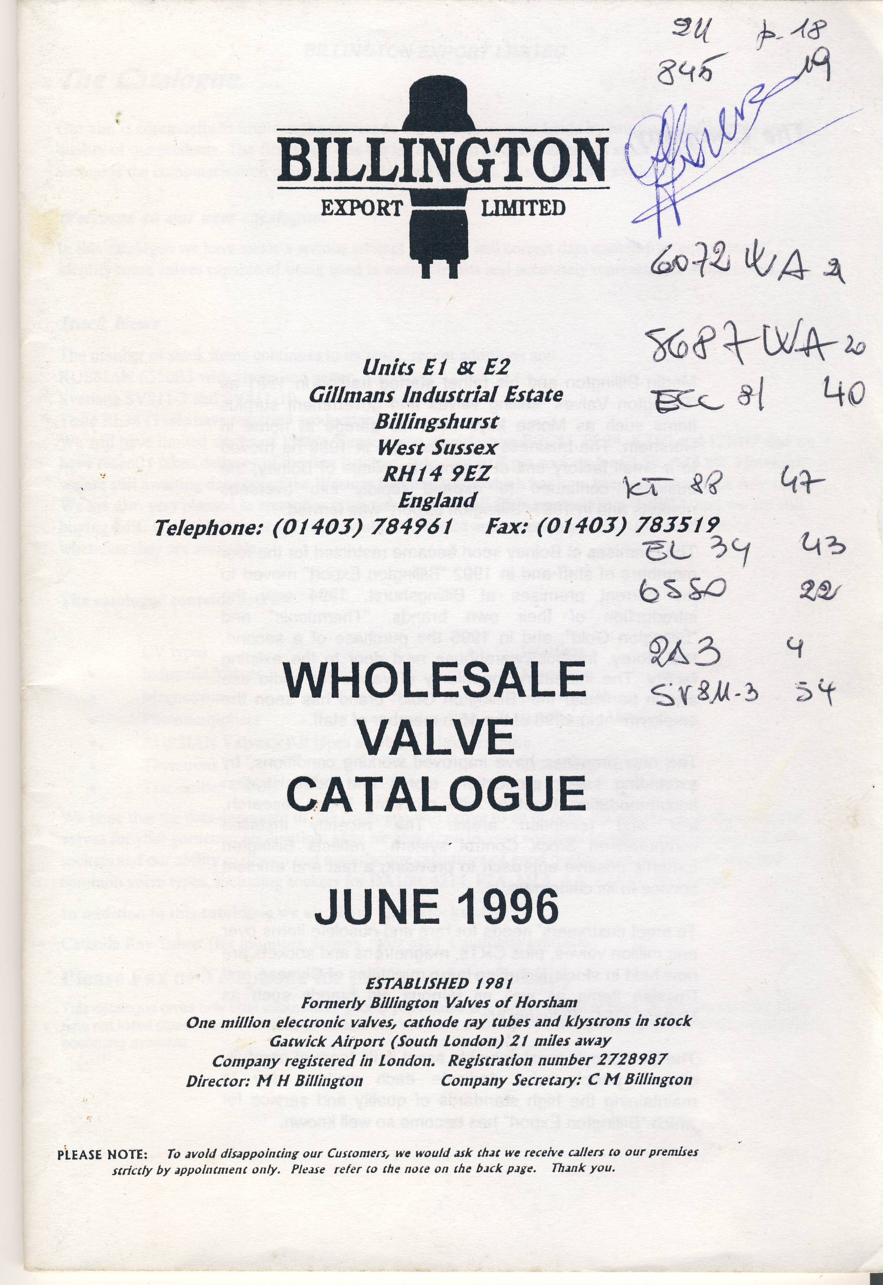 BILLINGTON EXPORT 1996 Wholesale Valve Catalogue 68 pages measures approx 21cm x 15cm ref101630 June 1996 Catalogue pre-owned in good read condition. Writing on cover.