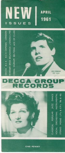 April 1961 New Issues DECCA GROUP RECORDS folded leaflet measures approx 21cm x 9cm ref101632 unfolded leaflet measures approx 26cm x 42cm pre-owned in good read condition. Holes in leaflet on front (visible in photo).