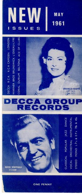 May 1961 New Issues DECCA GROUP RECORDS folded leaflet measures approx 21cm x 9cm ref101633 unfolded leaflet measures approx 26cm x 42cm pre-owned in good read condition. Holes in leaflet on front corner (visible in photo).