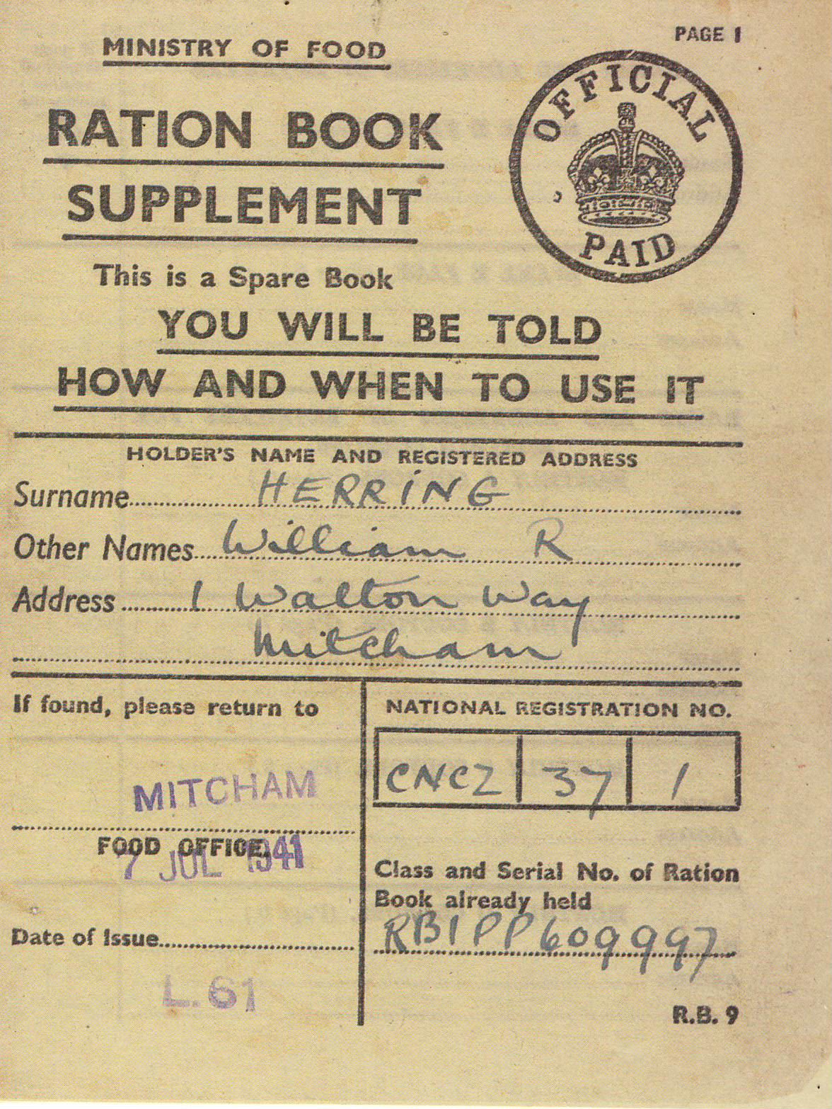 WW2 Ration Book Supplement spare book Ministry of Food publication measures approx 10cm x 13cm ref101635 Stapled pre-owned in good clean read condition.