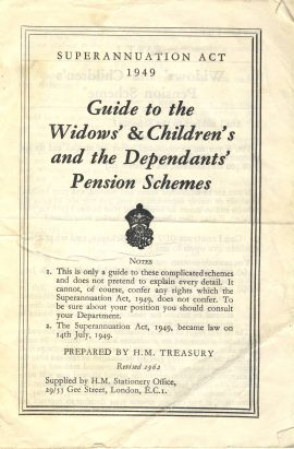 1962 Guide to Widows & Childrens Dependents Pension Schemes booklet 20 pages measures approx 18cm x 12cm ref101638 vintage flimsy paper booklet - 1949 Superannuation Act prepared by HM Treasury revised 1962 pre-owned in well read condition.