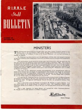 October 1959 RIBBLE Motor Transport Staff Bulletin ref101650 16 page vintage magazine measures approx 18cm x  23cm  pre-owned in well read condition. Great social history with photos