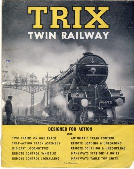 TRIX Twin Railway vintage foldout paper catalogue ref101654 Undated vintage publication measures folded approx 23cm x  19cm (43cm x 54cm unfolded) pre-owned in well used condition.