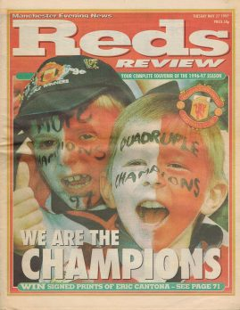 May 24 1997 MANCHESTER EVENING NEWS Reds Review Champions Vintage Newspaper refS4 72 pages 'We Are The Champions' souvenir of the 1996-97 Season. Newspaper pre-owned in well read condition.