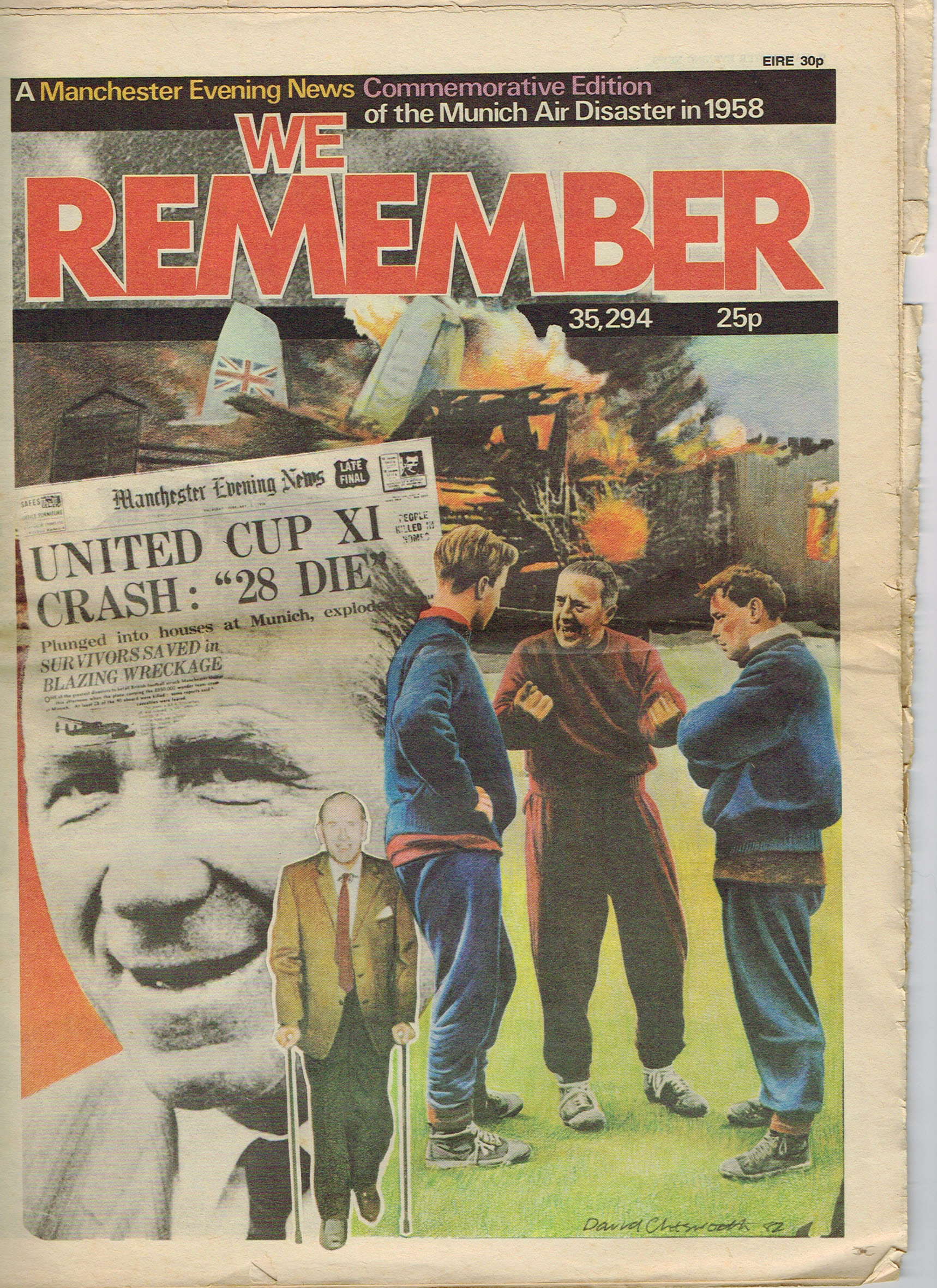 Munich Air Disaster in 1958 Manchester Evening News Vintage Newspaper refS4 36 page We Remember Commemorative Edition price 30p EIRE newpaper is pre-owned in well read condition.
