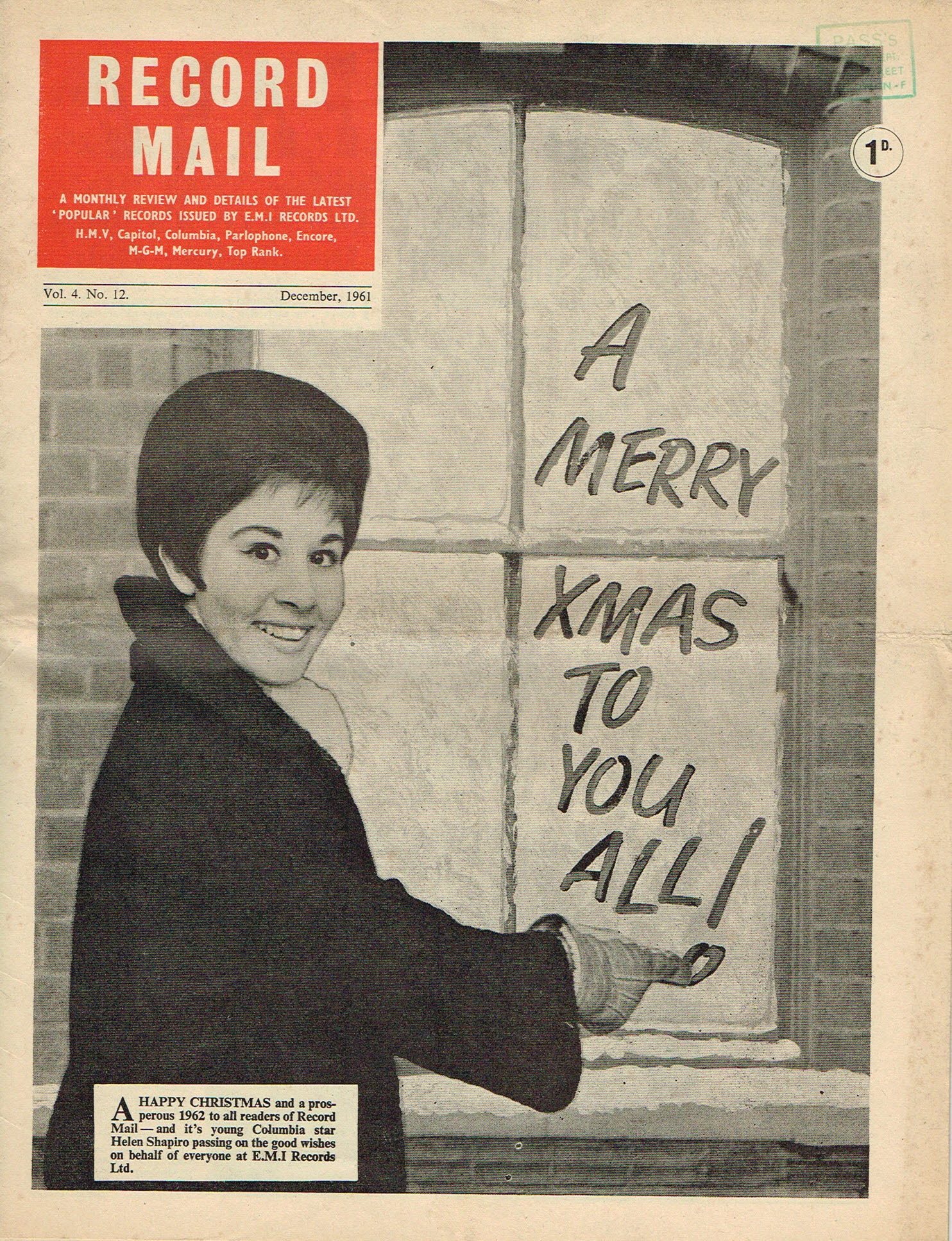 December 1961 XMAS RECORD MAIL Vintage Newspaper HELEN SHAPIRO refS4 December 1961 monthly review and details of the latest 'popular' records issued by E.M.I. Records Ltd. Vol.4 No.12. 16 page publication pre-owned in well read condition.