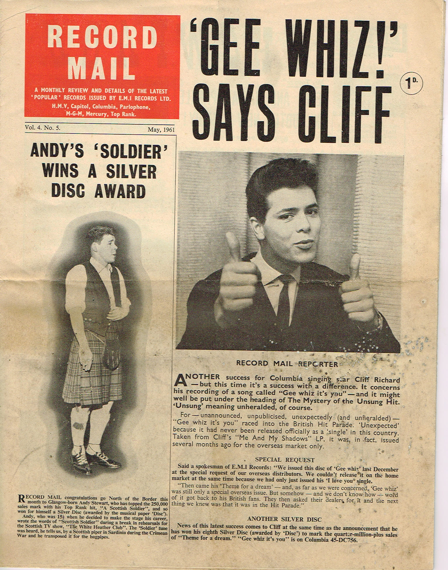 May 1961 RECORD MAIL Vintage Newspaper CLIFF RICHARD Andy Stewart refS4 May 1961 monthly review and details of the latest 'popular' records issued by E.M.I. Records Ltd. Vol.4 No.5. 16 page publication pre-owned in well read condition.