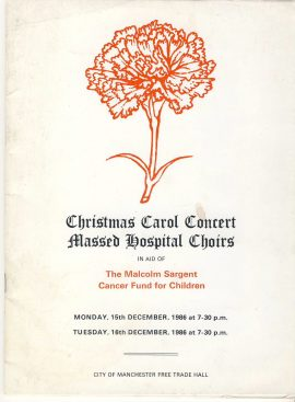 1986 December MALCOLM SARGENT Christmas Carol Concert MANCHESTER Free Trade Hall Theatre Programme ref101679 Vintage brochure is pre-owned in used condition. In aid of Malcolm Sargent Cancer Fund for Children. Measure approx 24cm x 18cm 40 pages Full page black and white photo of Her Royal Highness the Princess of Wales - Princess Diana with her two sons William and Harry taken by Snowdon.