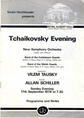 1978 Royal Albert Hall TCHAIKOVSKY Vintage Theatre Programme ref101681 Victor Hochhauser New Symphoney Orchesta Vilem Tausky and Allan Schiller Vintage brochure is pre-owned in used condition. Measure approx 23cm x 17cm