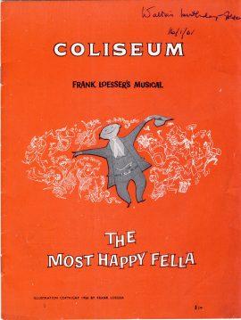 1961 The Most Happy Gella Vintage COLISEUM Theatre Programme ref101689 Frank Loesser's Musical staring Edwin Steffe