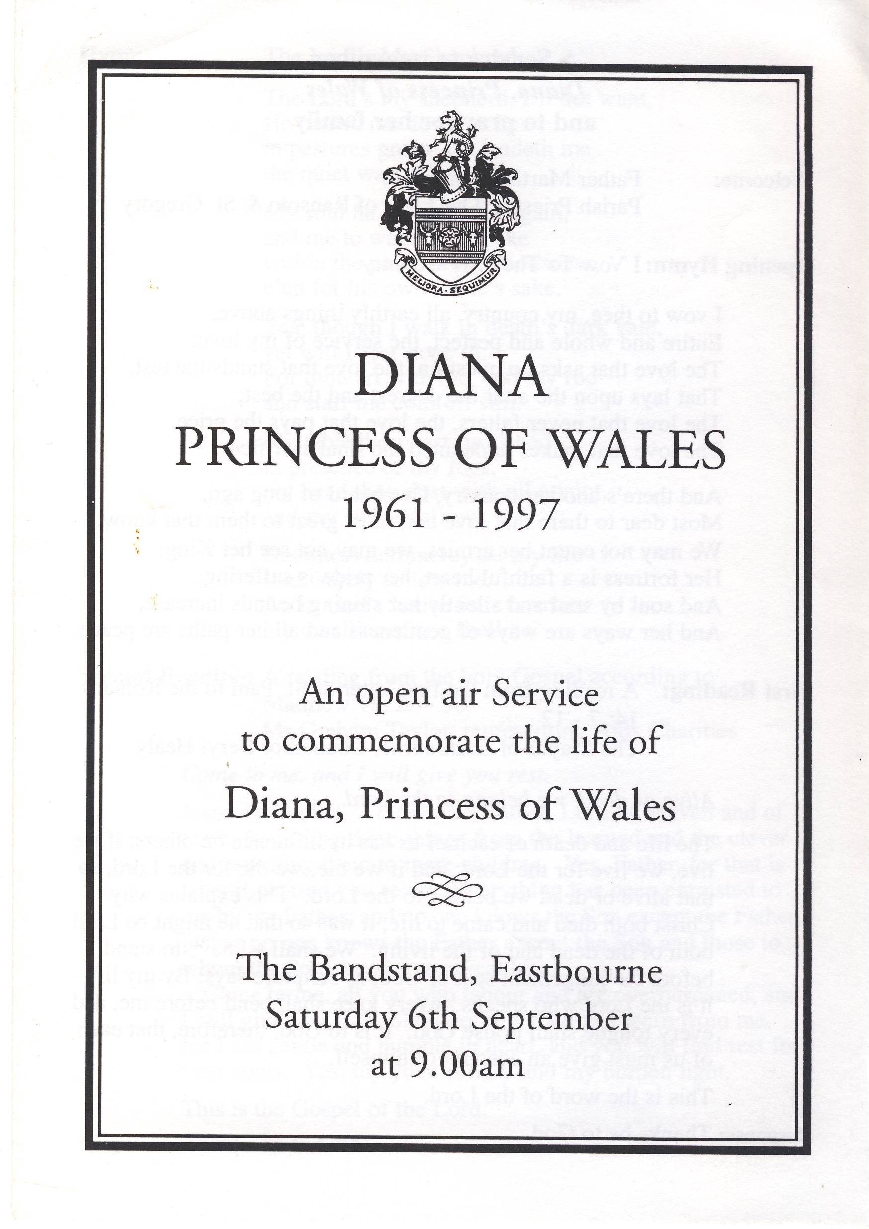 Diana Princess of Wales 1961-1997 EASTBOURNE Open Air Service Bandstand Vintage Programme ref101715 Order of Service to remember Diana