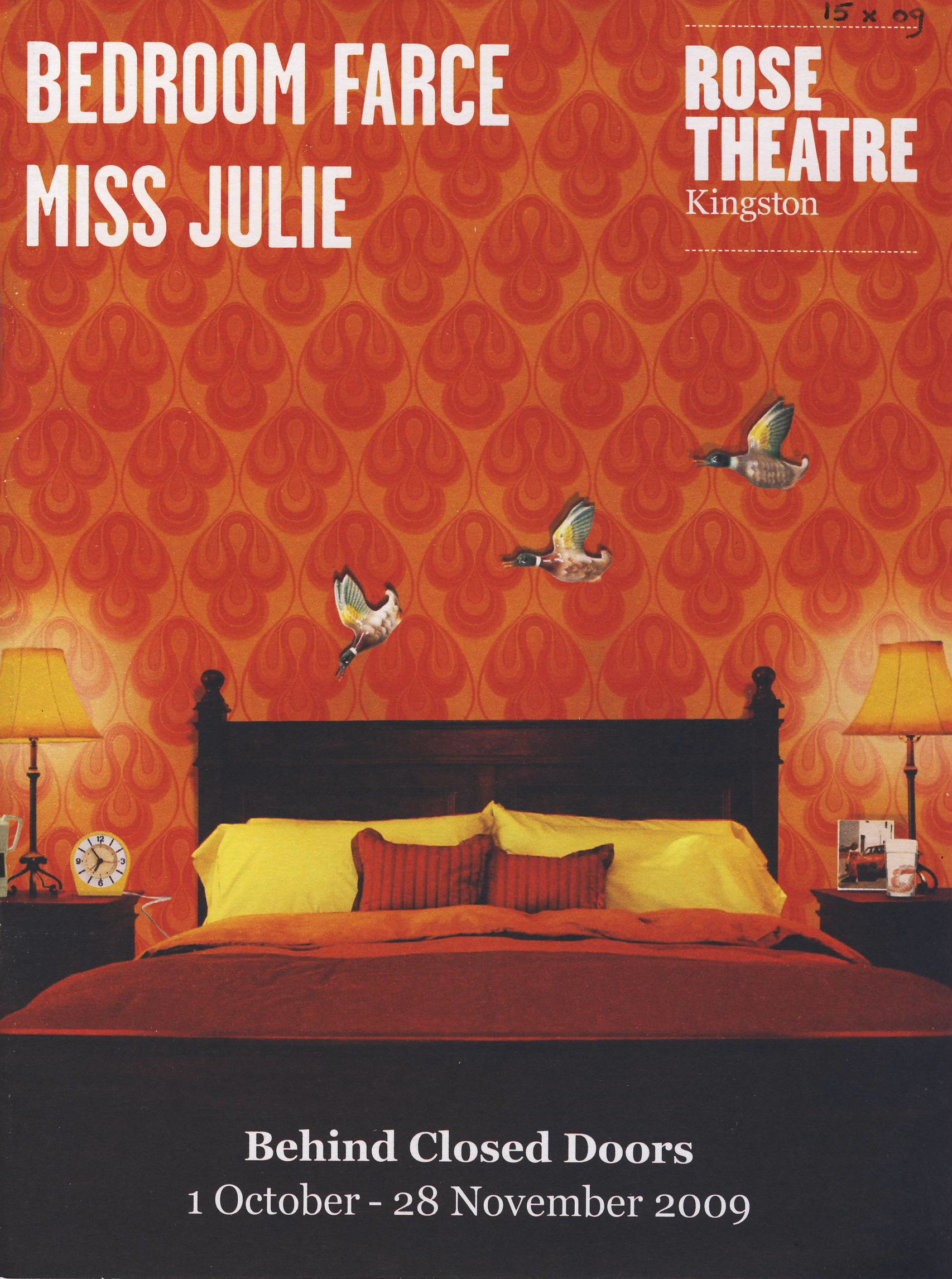 JANE ASHER 2009 Behind Closed Doors BEDROOM FARCE MISS JULIE Kingston Rose Theatre Programme ref101716 Vintage brochure is pre-owned in used condition. Measure approx 21cm x 15cm