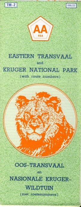 AA RSA Eastern Transvaal KRUGER NATIONAL PARK 1989 vintage map brochure South Africa refS5 TM-2 896/23 AA RSA OOS TRANSVAAL en NASIONALE KRUGER-WILDTUIN measures approx  21cm x  8cm folded - map on one side - other side is text - pre-owned in very good condition.