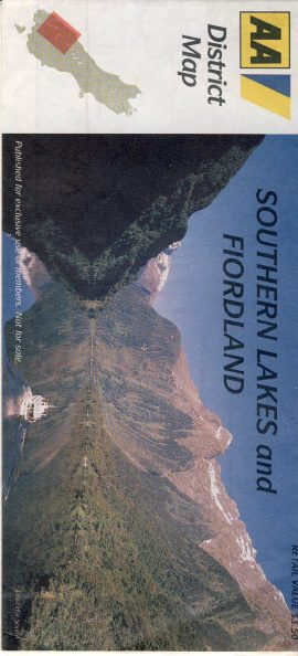 NZ SOUTHERN LAKES FIORDLAND vintage AA District map refS5 Advert on the outside fold for MILFORD JET FIORDLAND TRAVEL measures approx  20cm x  9cm folded - map on one side - other side is text - pre-owned in very good condition.