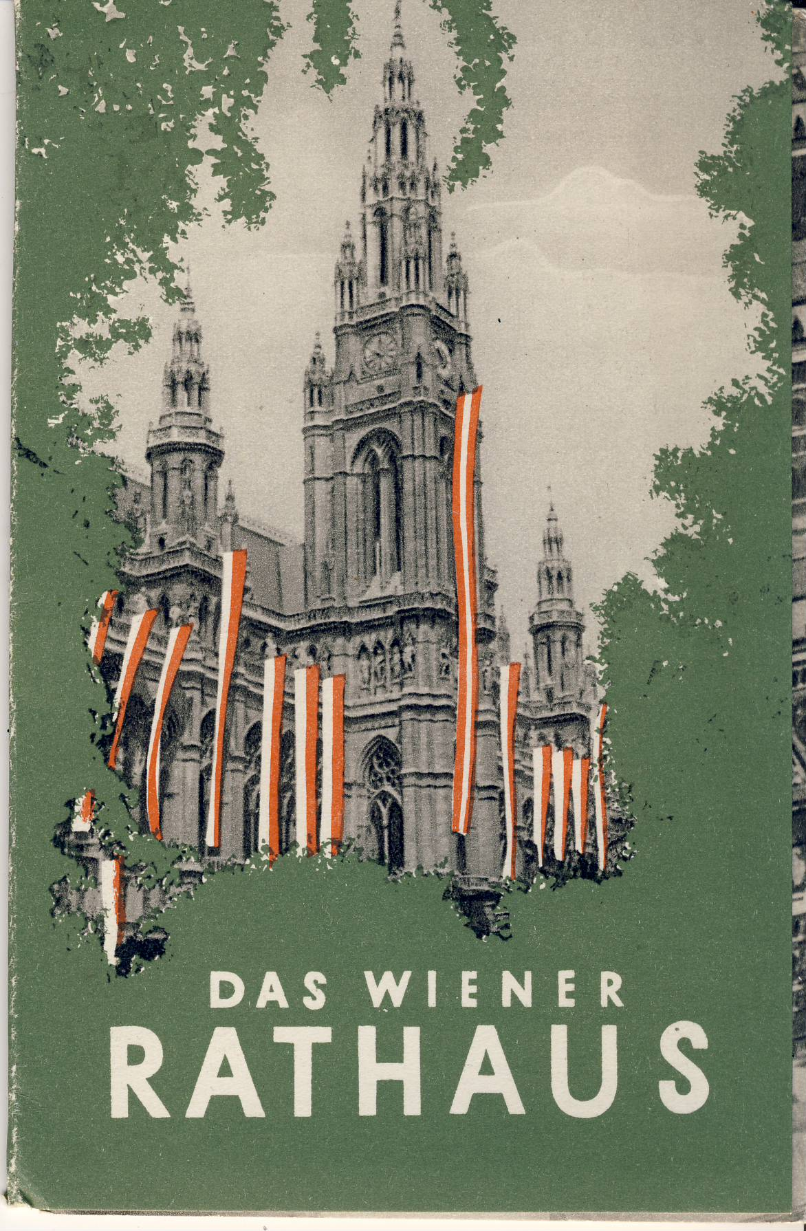 DAS WIENER RATHAUS vintage fold out postcard booklet DATED 1955 refS5 FOLDOUT CONTAINS 7 POSTCARDS perforated edges ready to remove and use - reverse sides and inside covers is text info - measures approx  15cm x  9cm folded - pre-owned in very good condition.