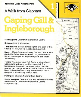 A Walk from Clapham 1989 Gaping Gill & Ingleborough foldout vintage card map refS5 Yorkshire Dales National Park publication measures approx 15cm x  12cm folded (approx 40cm x 15cm unfolded) - map on one side - other sides are text and route - pre-owned in very good condition.