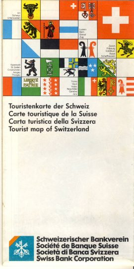 1986 Tourist Map of Switzerland Swiss Bank Corporation vintage refS5 Map measures approx  21cm x  12cm folded - map on one side - other side is sectioned with city / town maps  - pre-owned in good condition.